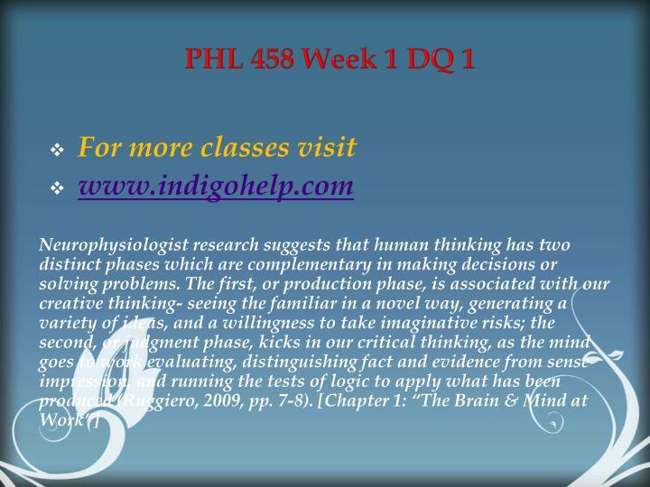 PHL 458 Week 1 DQ 1