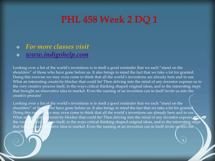 PHL 458 Week 2 DQ 1