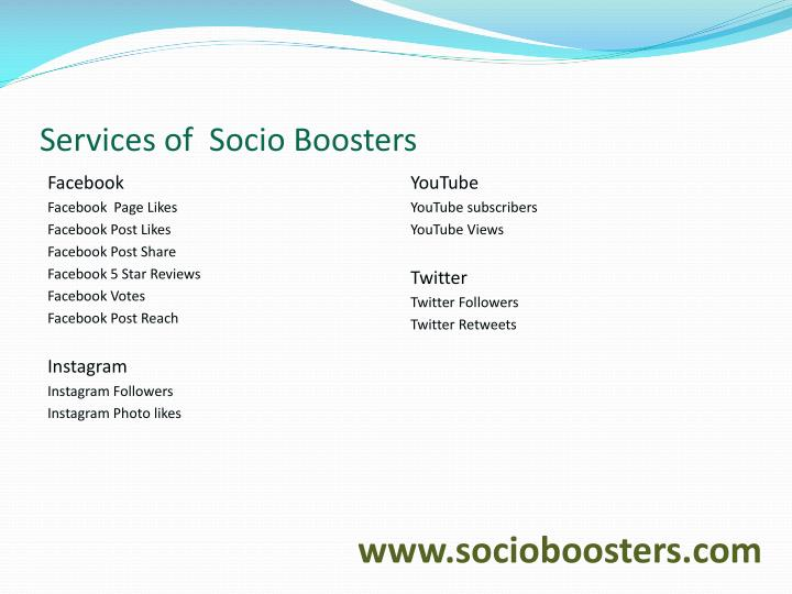 Services of  Socio Boosters
