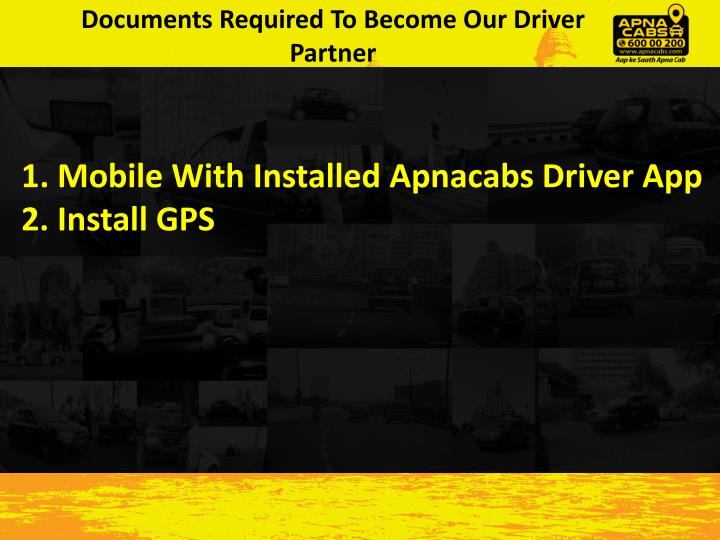 Documents Required To Become Our Driver Partner