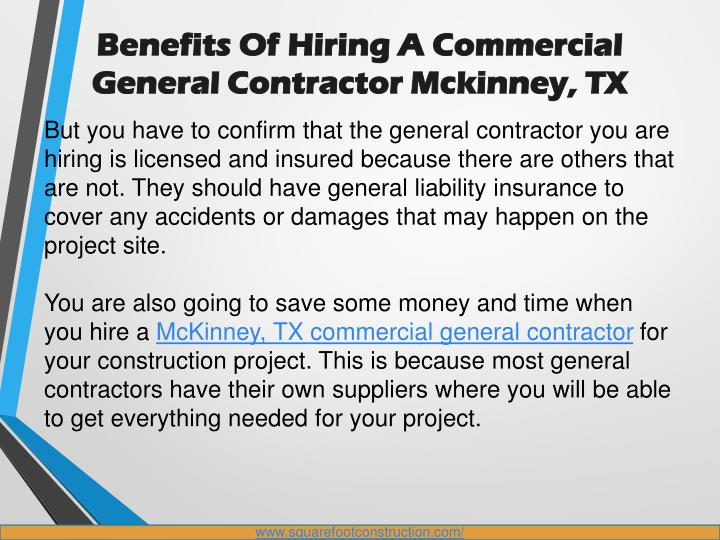 Ppt benefits of hiring a commercial general contractor for Being your own general contractor