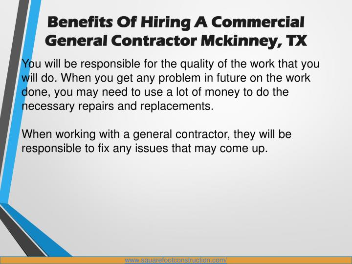 Ppt benefits of hiring a commercial general contractor for Hiring a contractor
