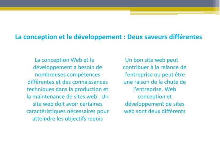La conception et le développement : Deux saveurs différentes