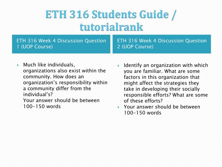 ETH 316 Students Guide /