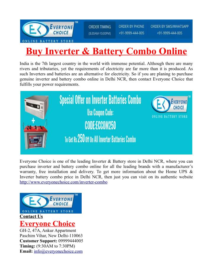 Buy Inverter & Battery Combo Online
