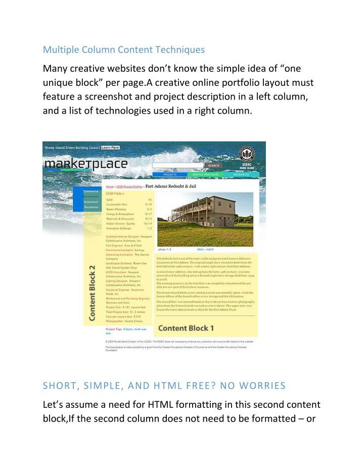 Multiple Column Content Techniques