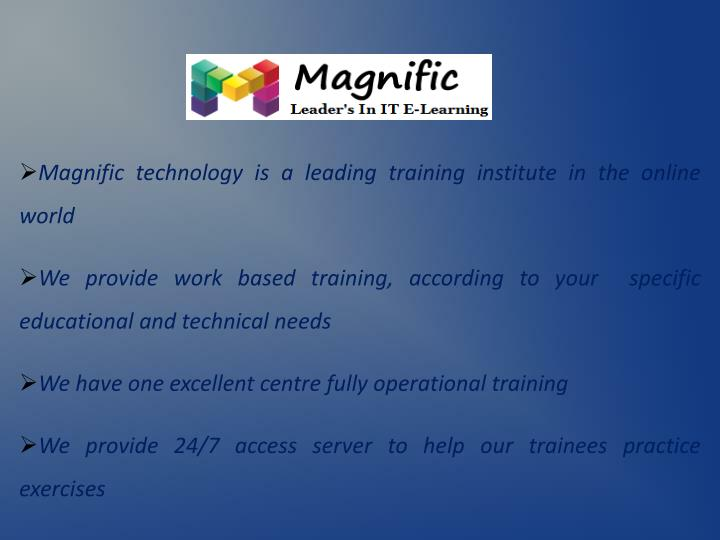 Magnific technology is a leading training institute in the online world
