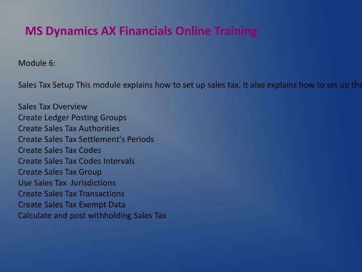 MS Dynamics AX Financials Online Training