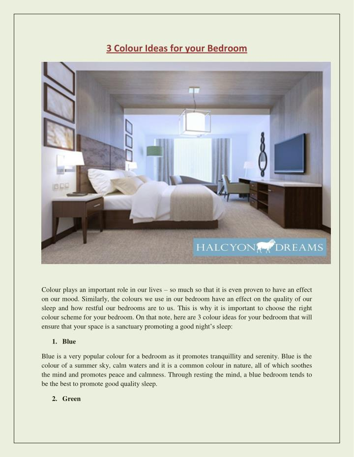 3 Colour Ideas for your Bedroom