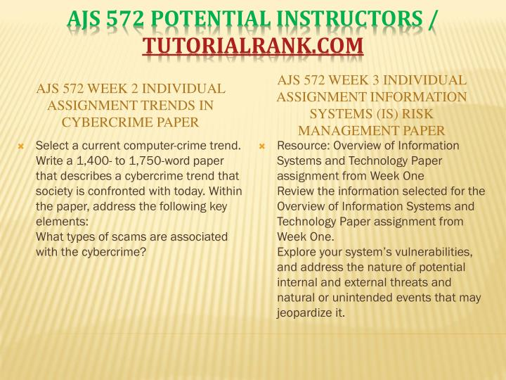 AJS 572 Week 2 Individual Assignment Trends in Cybercrime Paper