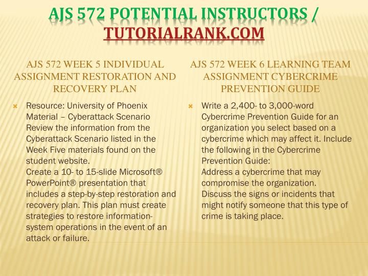 AJS 572 Week 5 Individual Assignment Restoration and Recovery Plan