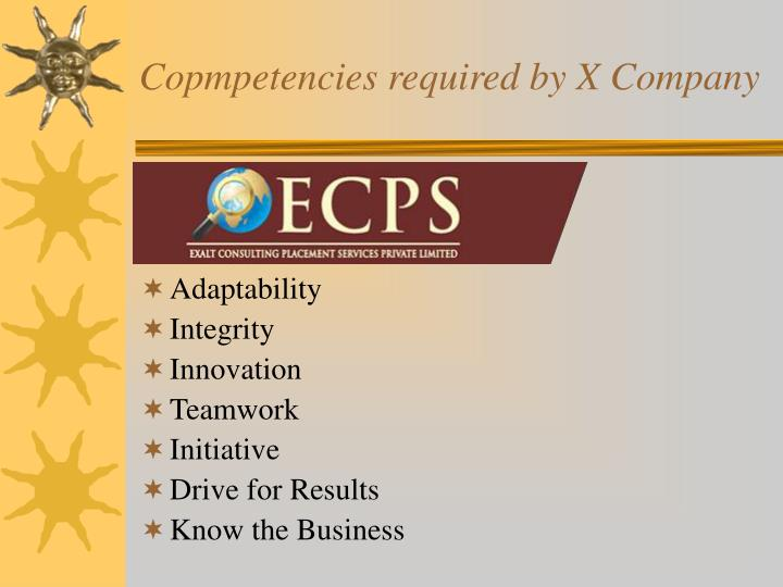 Copmpetencies required by X Company