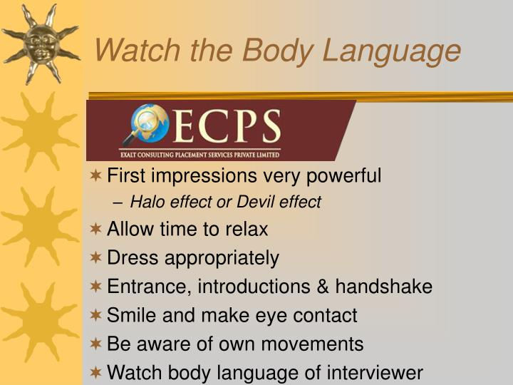 Watch the Body Language