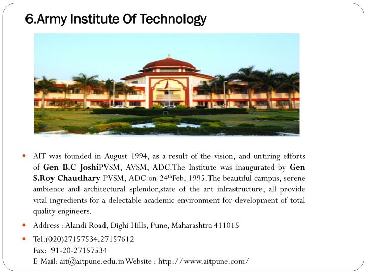 6.Army Institute Of Technology