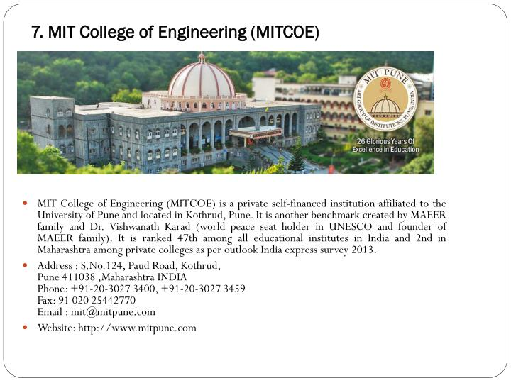 7. MIT College of Engineering (MITCOE)
