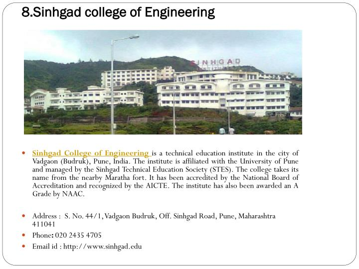 8.Sinhgad college of Engineering