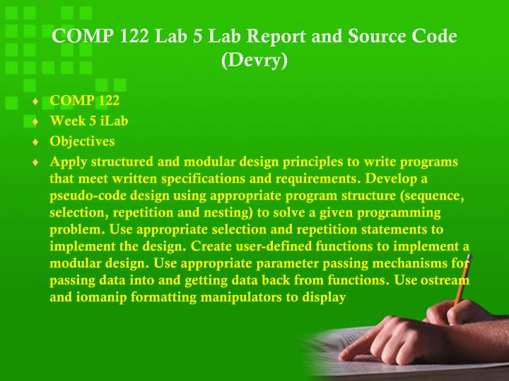 COMP 122 DeVry Week 7 iLab 7 Latest