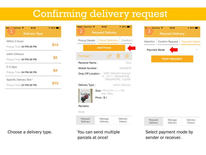 Confirming delivery request