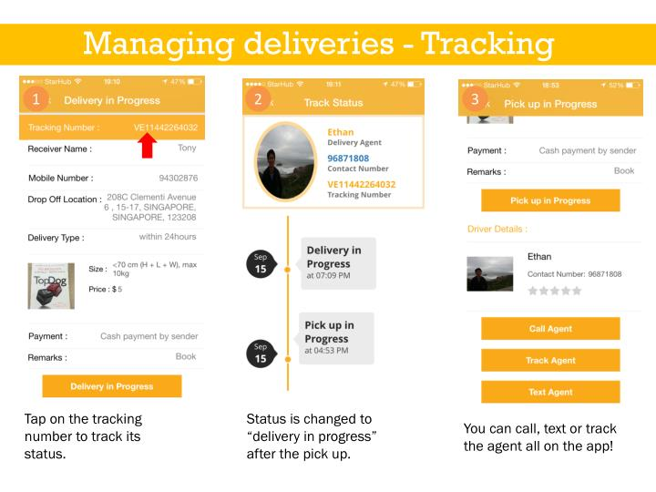 Managing deliveries - Tracking