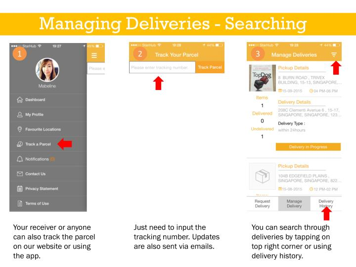 Managing Deliveries - Searching