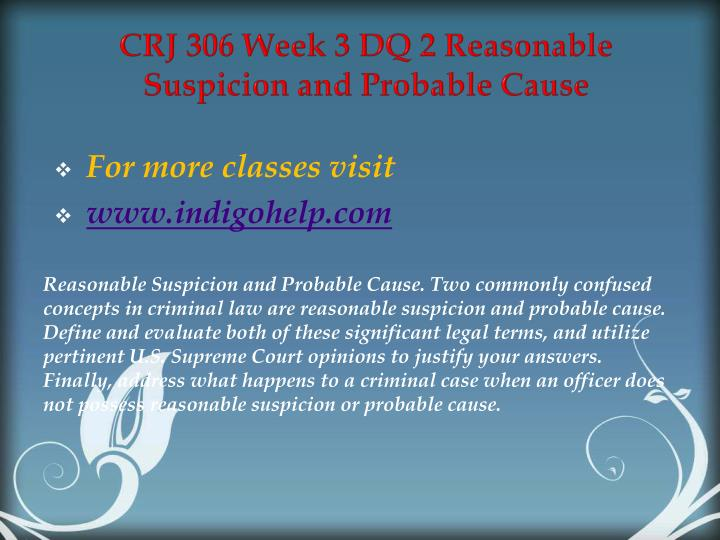 CRJ 306 Week 3 DQ 2 Reasonable Suspicion and Probable Cause