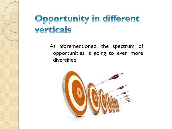 Opportunity in different verticals
