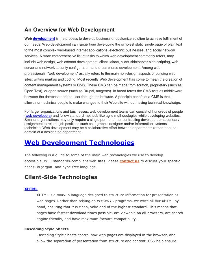 An Overview for Web Development