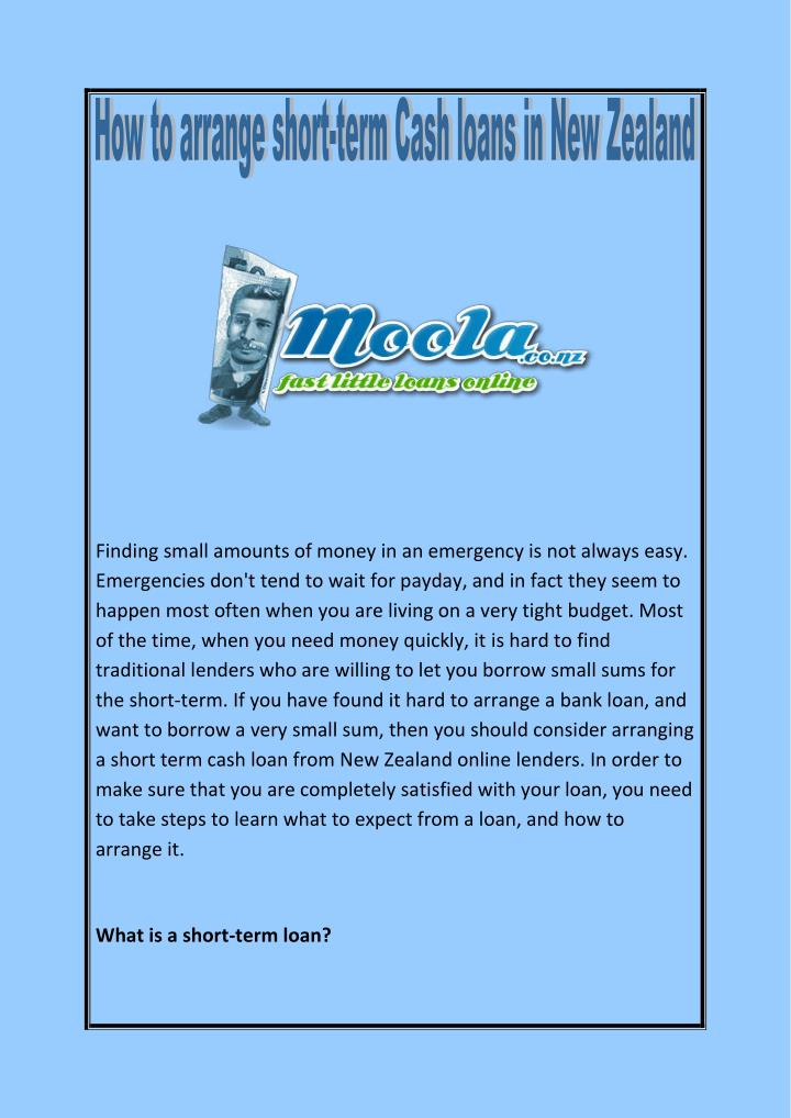 Finding small amounts of money in an emergency is not always easy.