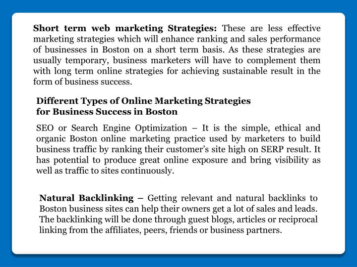 Short term web marketing Strategies: