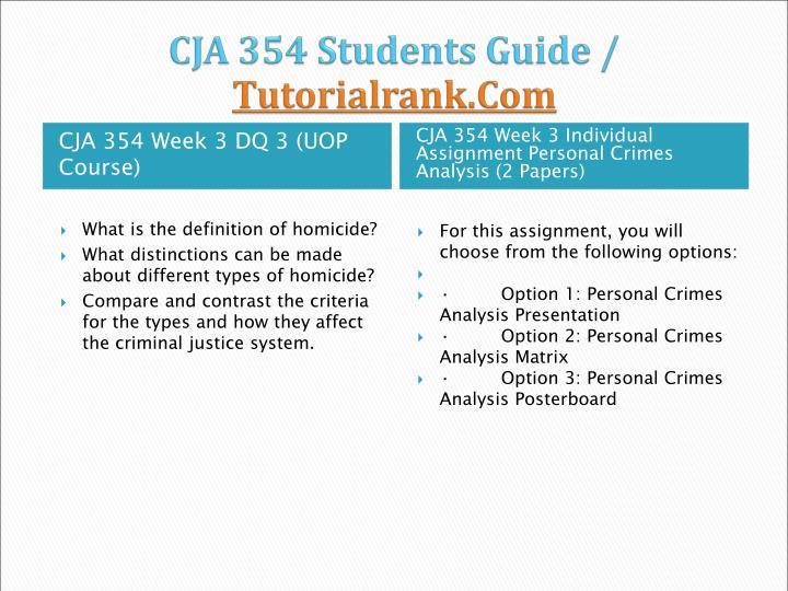 Personal crime analysis cja 354 week