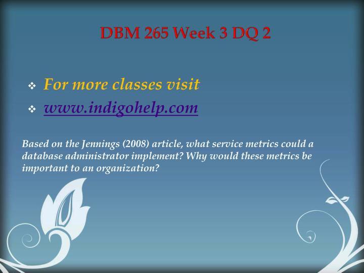DBM 265 Week 3 DQ 2
