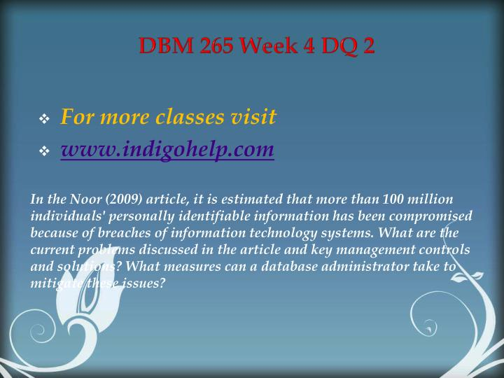 DBM 265 Week 4 DQ 2