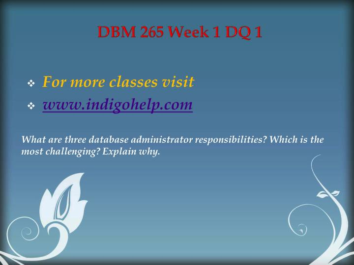 DBM 265 Week 1 DQ 1