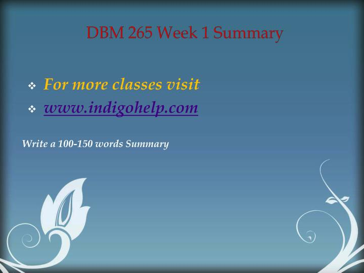 DBM 265 Week 1 Summary