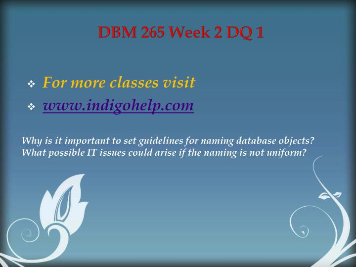 DBM 265 Week 2 DQ 1
