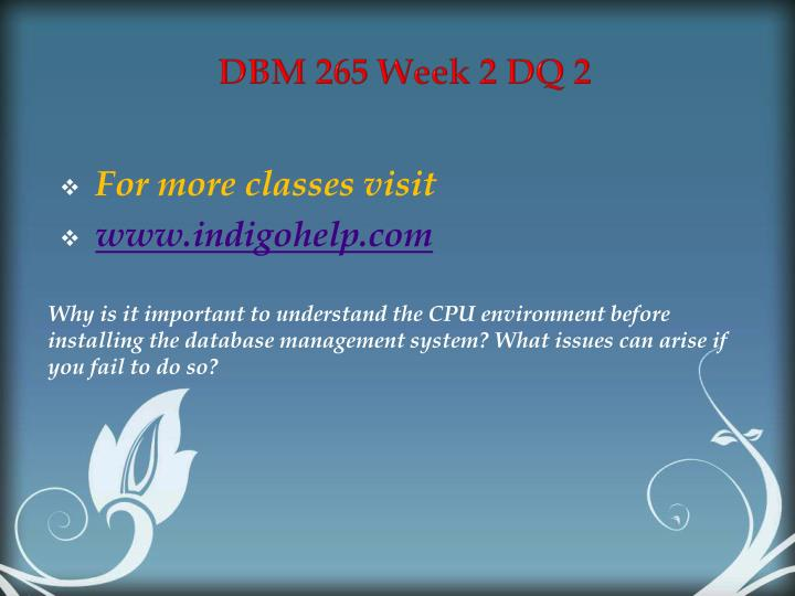DBM 265 Week 2 DQ 2