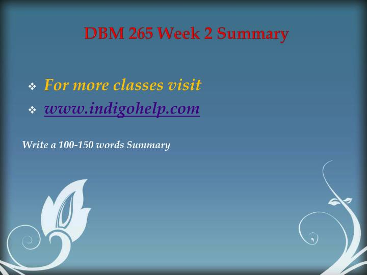 DBM 265 Week 2 Summary