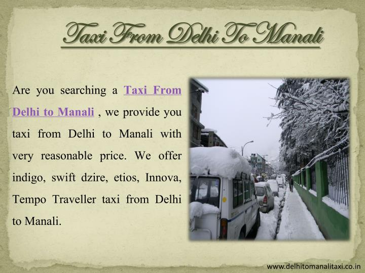 Taxi From Delhi To Manali