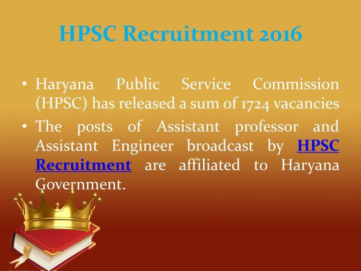 HPSC Recruitment 2016