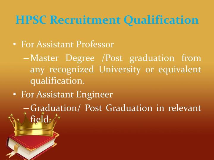 HPSC Recruitment Qualification