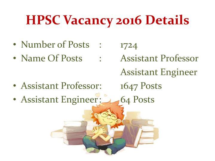 HPSC Vacancy 2016 Details