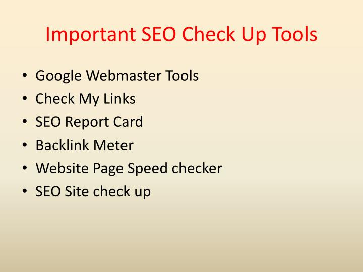 Important SEO Check Up Tools