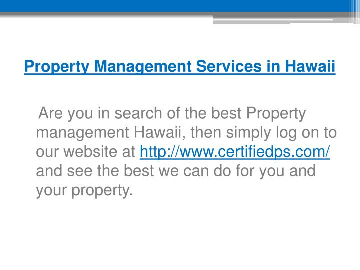 Property Management Services in Hawaii
