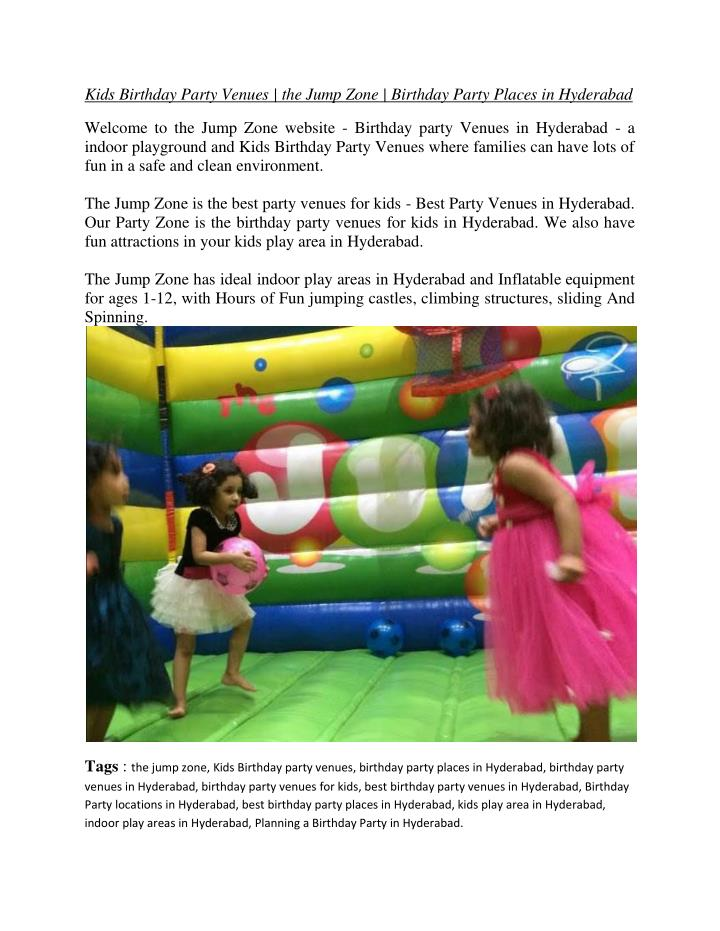 Kids Birthday Party Venues | the Jump Zone | Birthday Party Places in Hyderabad