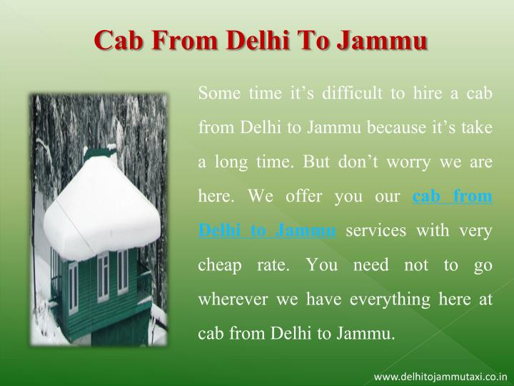 Cab From Delhi To Jammu