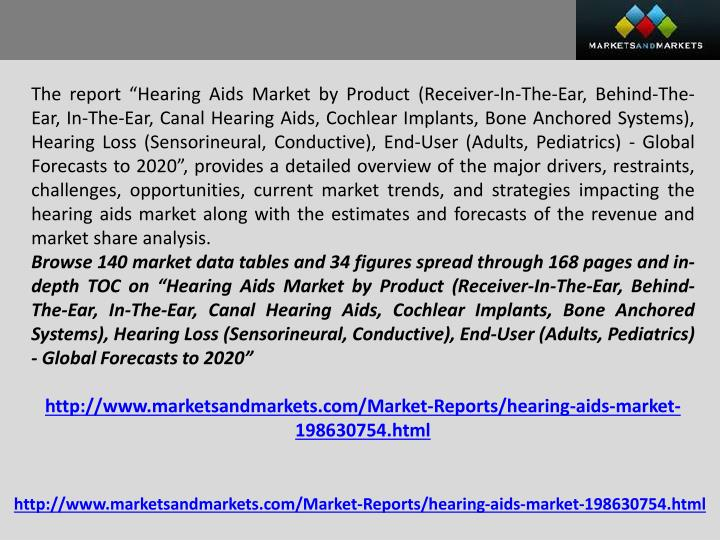 "The report ""Hearing Aids Market by Product (Receiver-In-The-Ear, Behind-The-Ear, In-The-Ear, Canal..."