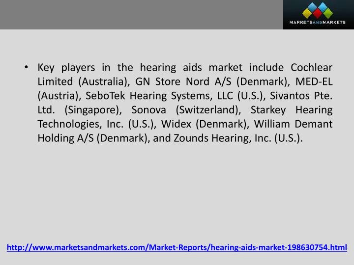 Key players in the hearing aids market include Cochlear Limited (Australia), GN Store Nord A/S (Denmark), MED-EL (Austria),