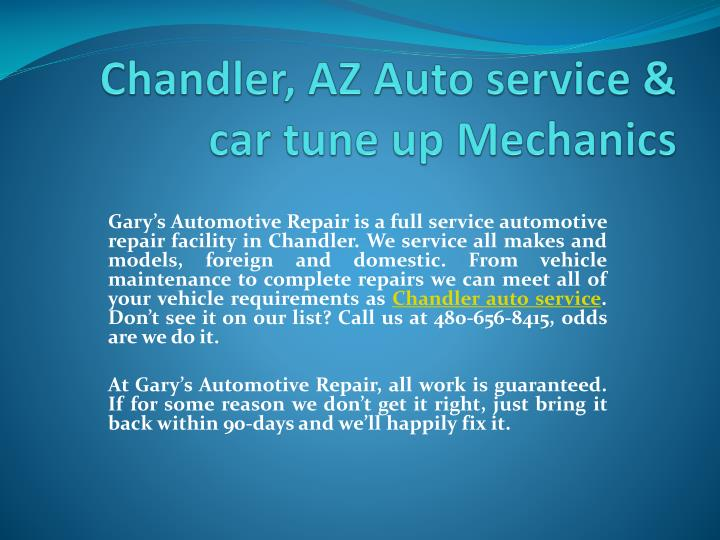 Chandler az auto service car tune up mechanics