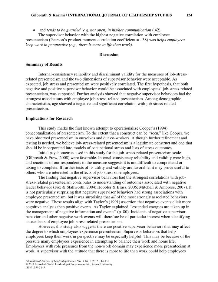 Gilbreath & Karimi / INTERNATIONAL JOURNAL OF LEADERSHIP STUDIES