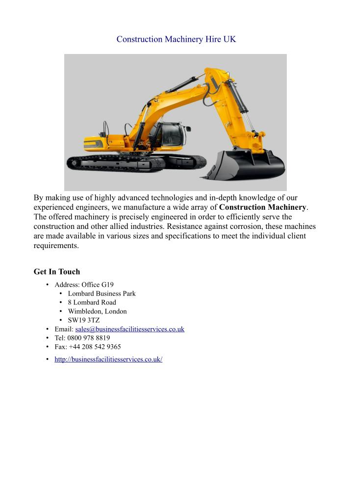 Construction Machinery Hire UK